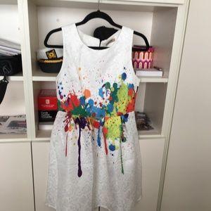 Super unique paint splattered dress. Adorable!!